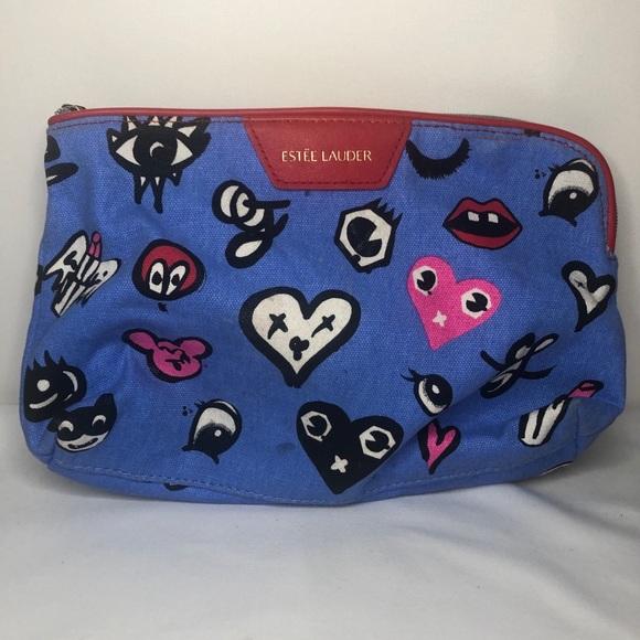 Estee Lauder Handbags - Estee Lauder Heart Print Cosmetic Makeup Bag Blue